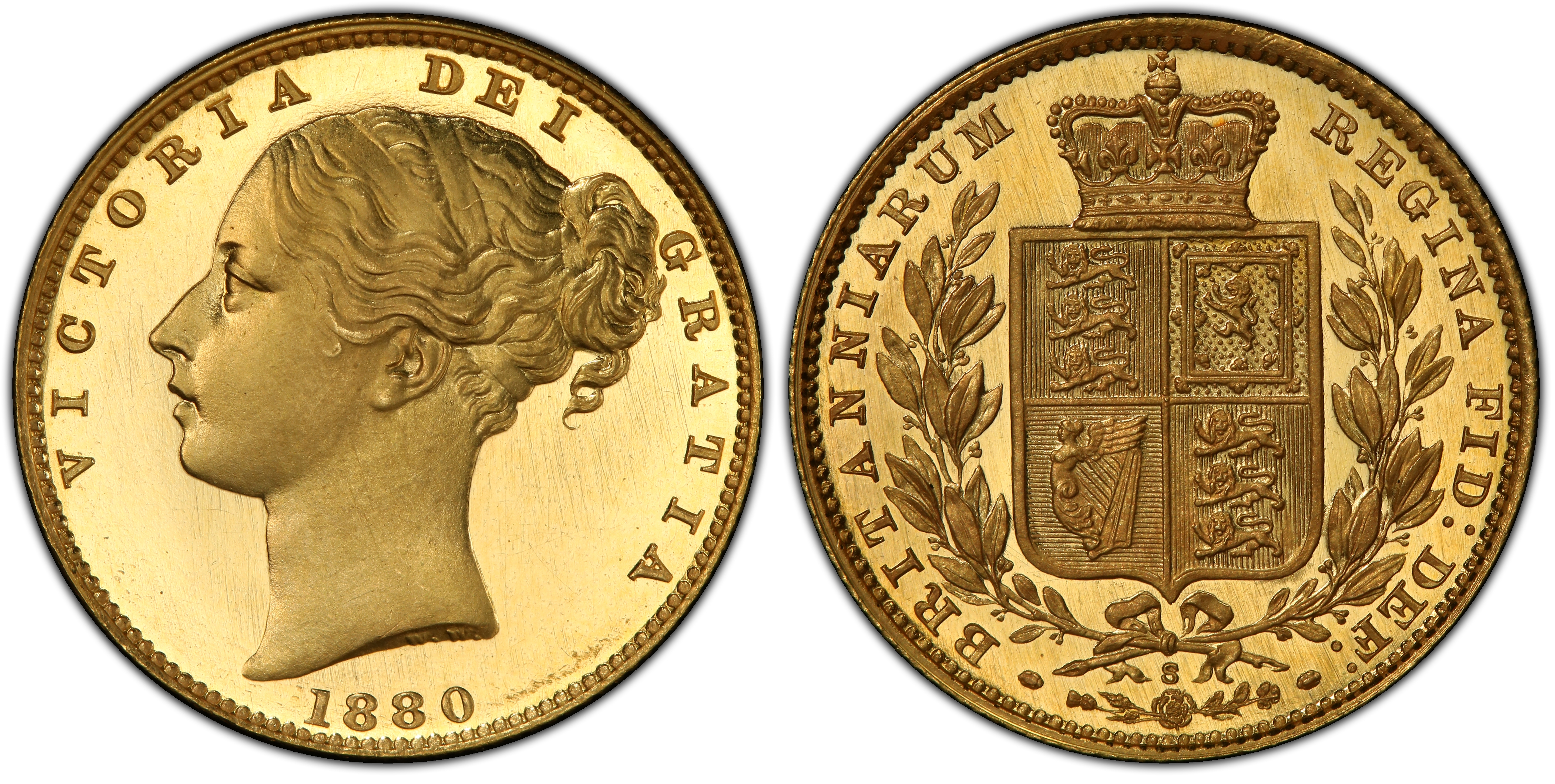 A rare 1880S Proof Sovereign graded by PCGS at PR65DC