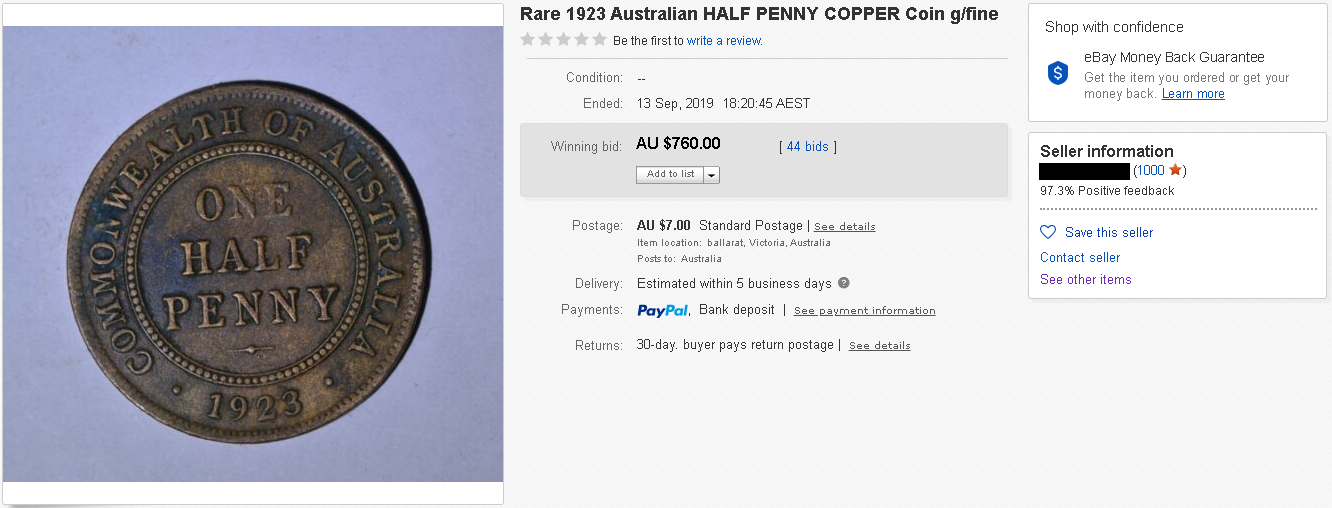 A fake 1923 half penny that was sold on eBay